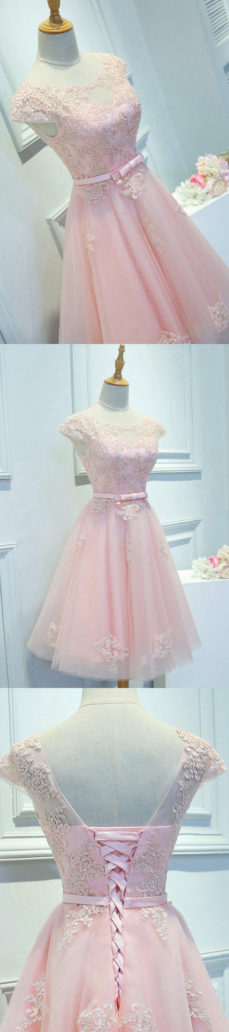 Light pink homecoming dressshort prom dressback to school dresses