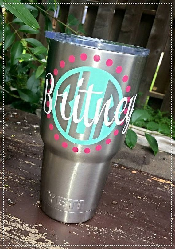 Yeti Cup Monogram Decal My Style Pinterest Yeti Cup - Custom vinyl decals for cups