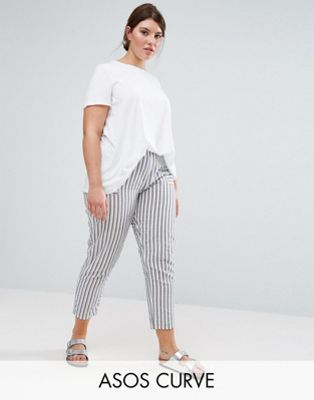Asos Curve Striped Peg Pants In Seersucker Plus Size Womens