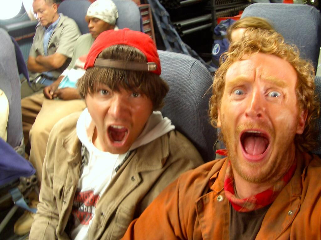 scottmichaelcampbell ‏@Scott Campbell 22 Std.  TBT- @TonyCurran69 @jarpad Back when we were young and scared. I TOLD you we would make it out of there alive! - BTS pic flight of the phoenix