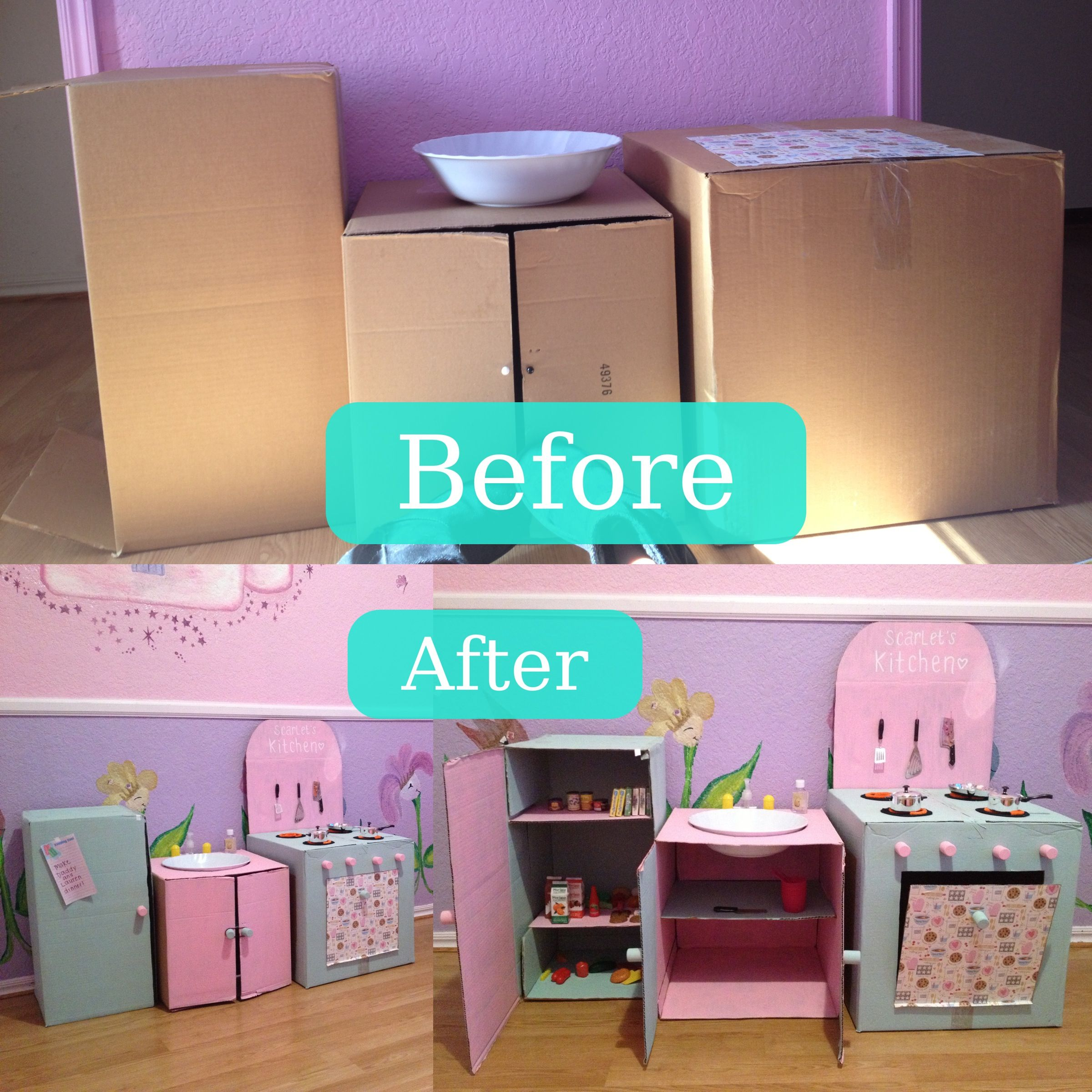 Turn extra cardboard boxes into a cute kitchen for your little chef ...
