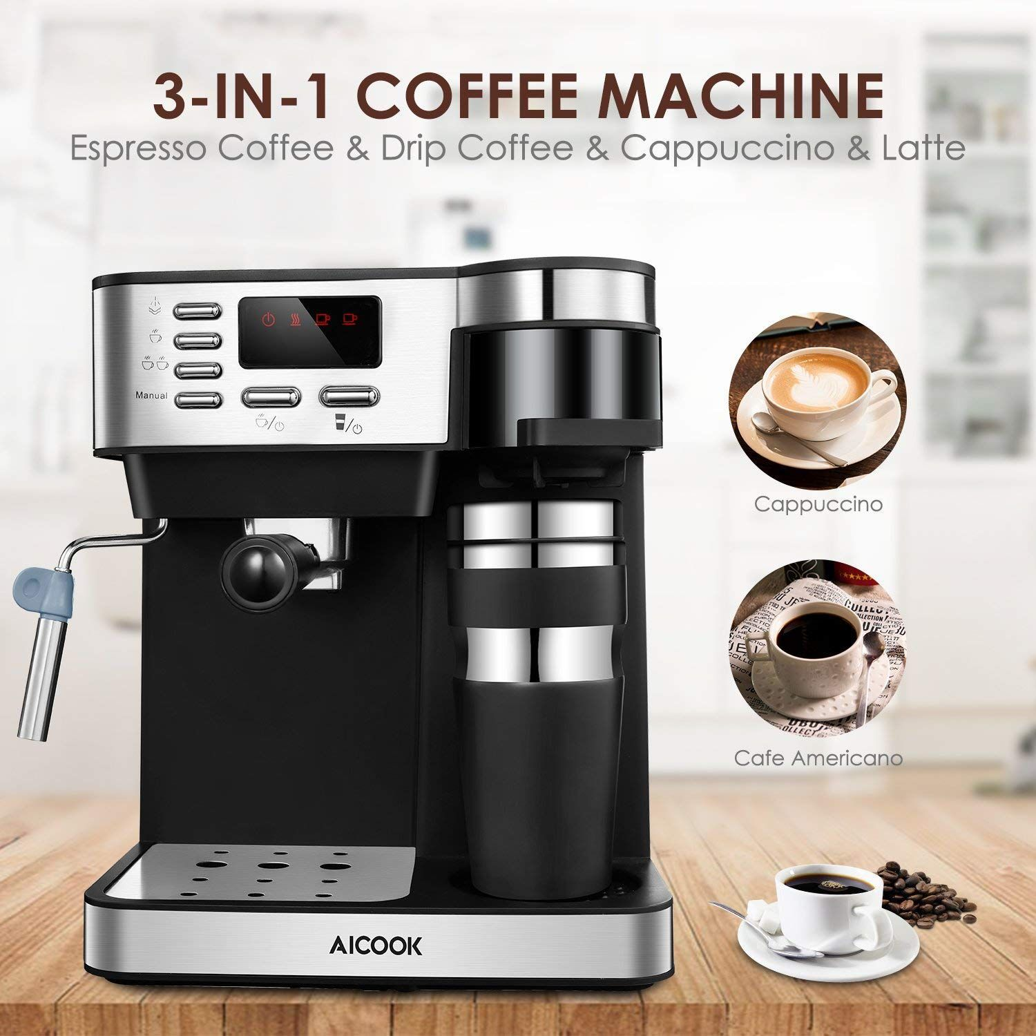 Aicook 3in1 Espresso & Coffee Machine Only 99.99