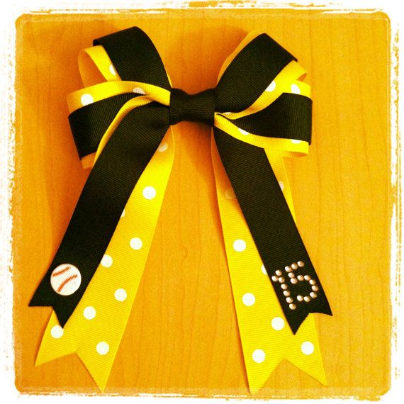 Softball Hair Bow with Number by whnNdoubtPUTaBOWonIT on Etsy ... ea7ed1fbc07