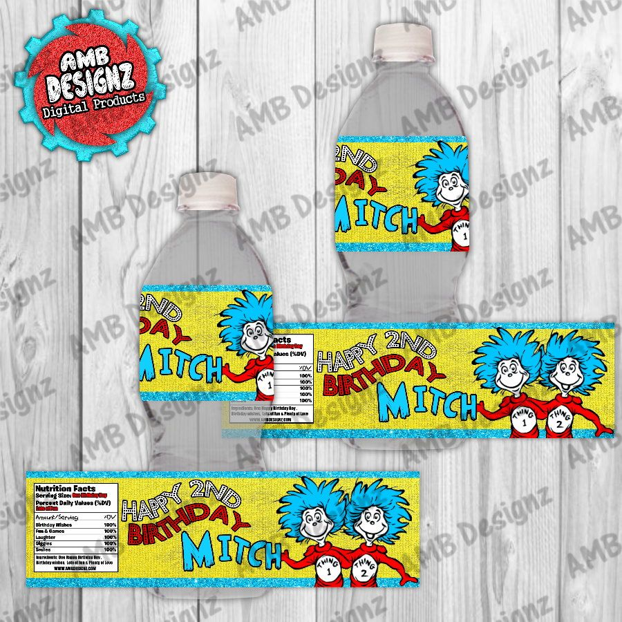 Dr Seuss Thing 1 2 ~ Water Bottle Labels ~ Birthday Party Baby Shower Supplies