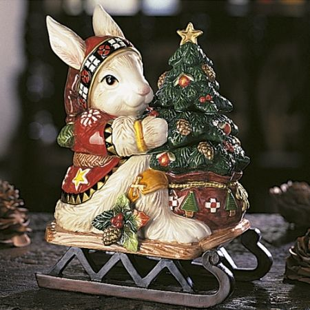 Christmas Lodge Rabbit Lidded Box Fitz and Floyd Fitz and Floyd