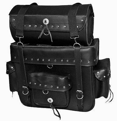Motorcycle Luggage Rack Bag Fascinating Jumbo Black Leather Motorcycle Sissybar Bag Luggage Rack Tour Pack Design Inspiration