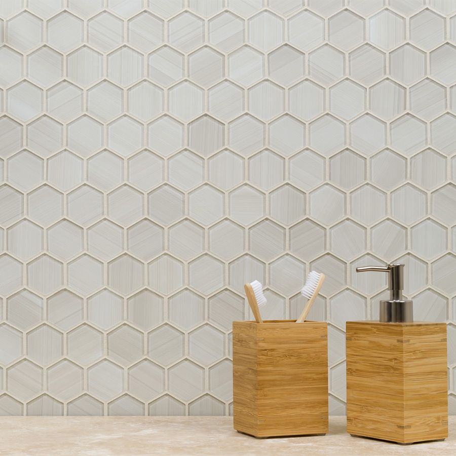 - Elida Ceramica Brushed Glass Hex Mosaic Glass Wall Tile (Common