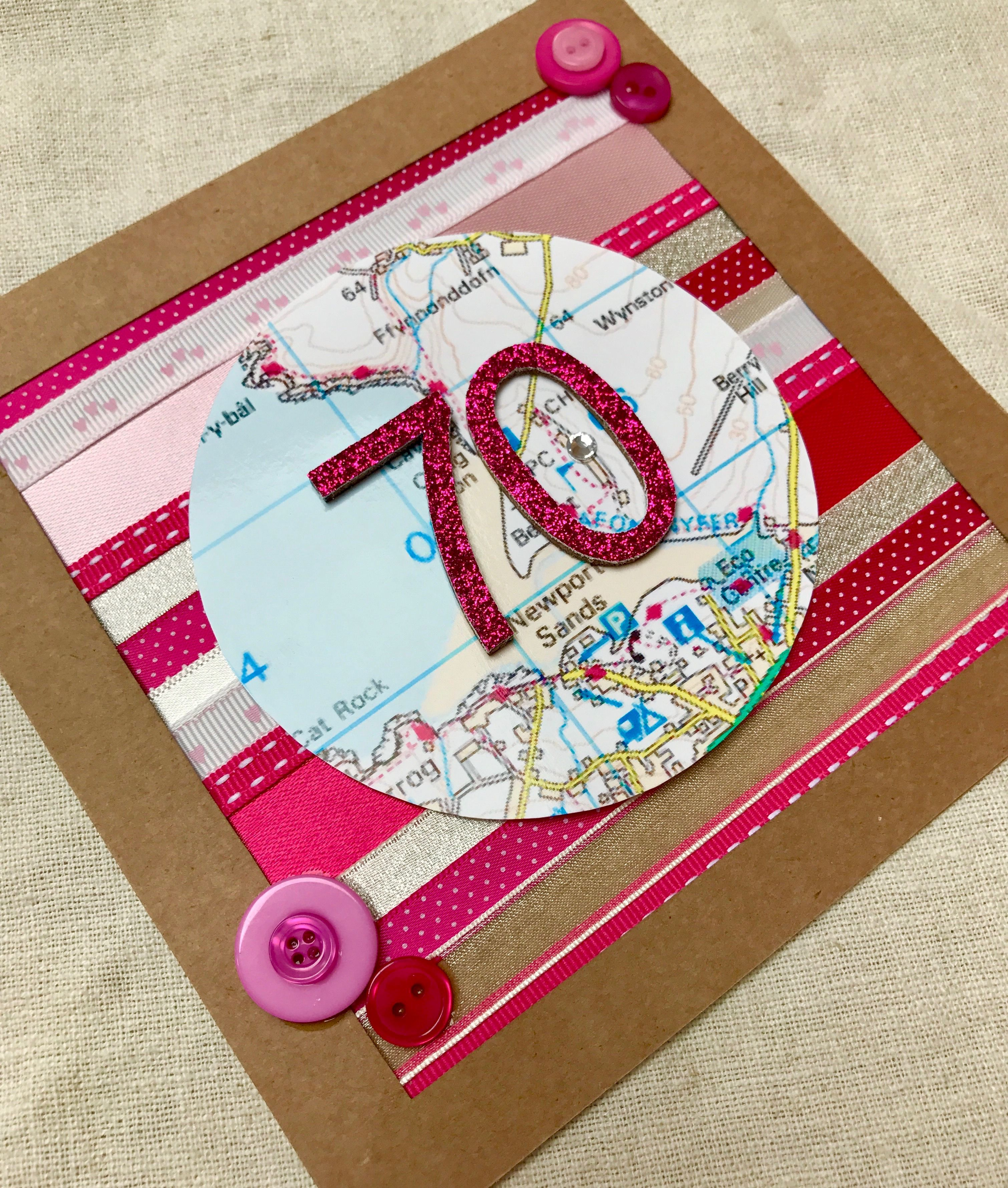 70th birthday card with personalised map. Milestone