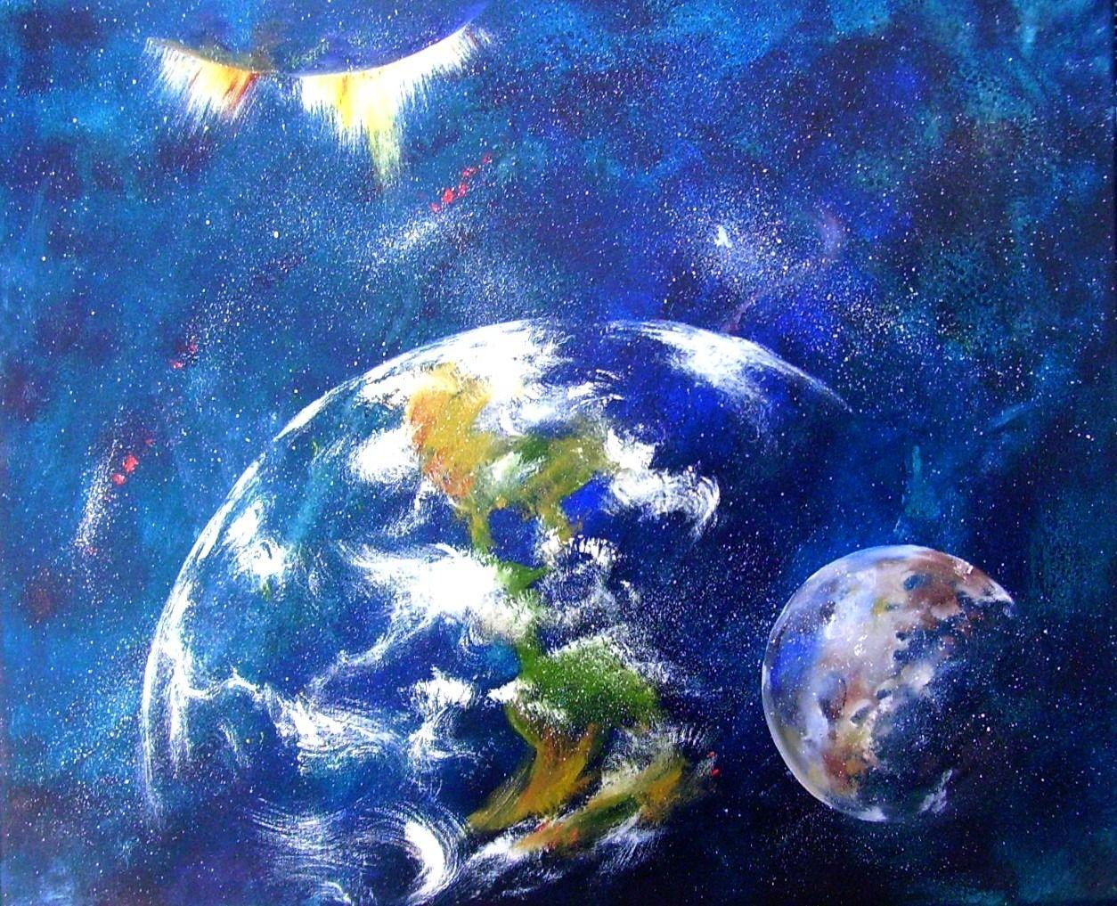 Tableau abstrait représentatif de la Terre et de la Lune : Peintures par peintures-axelle-bosler