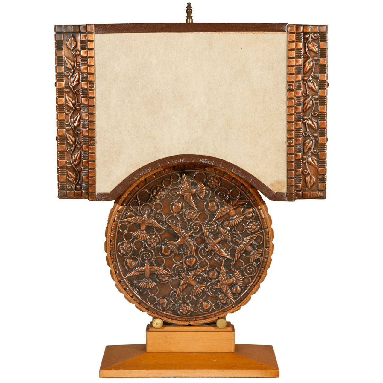 Repousse Table Lamp and Shade (Round Body) | From a unique collection of antique and modern table lamps at http://www.1stdibs.com/furniture/lighting/table-lamps/