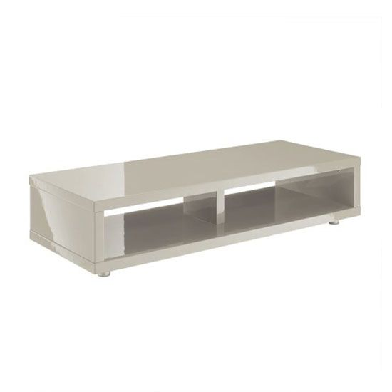 Curio Stone High Gloss Finish Low Board TV Stand With 2 Shelf