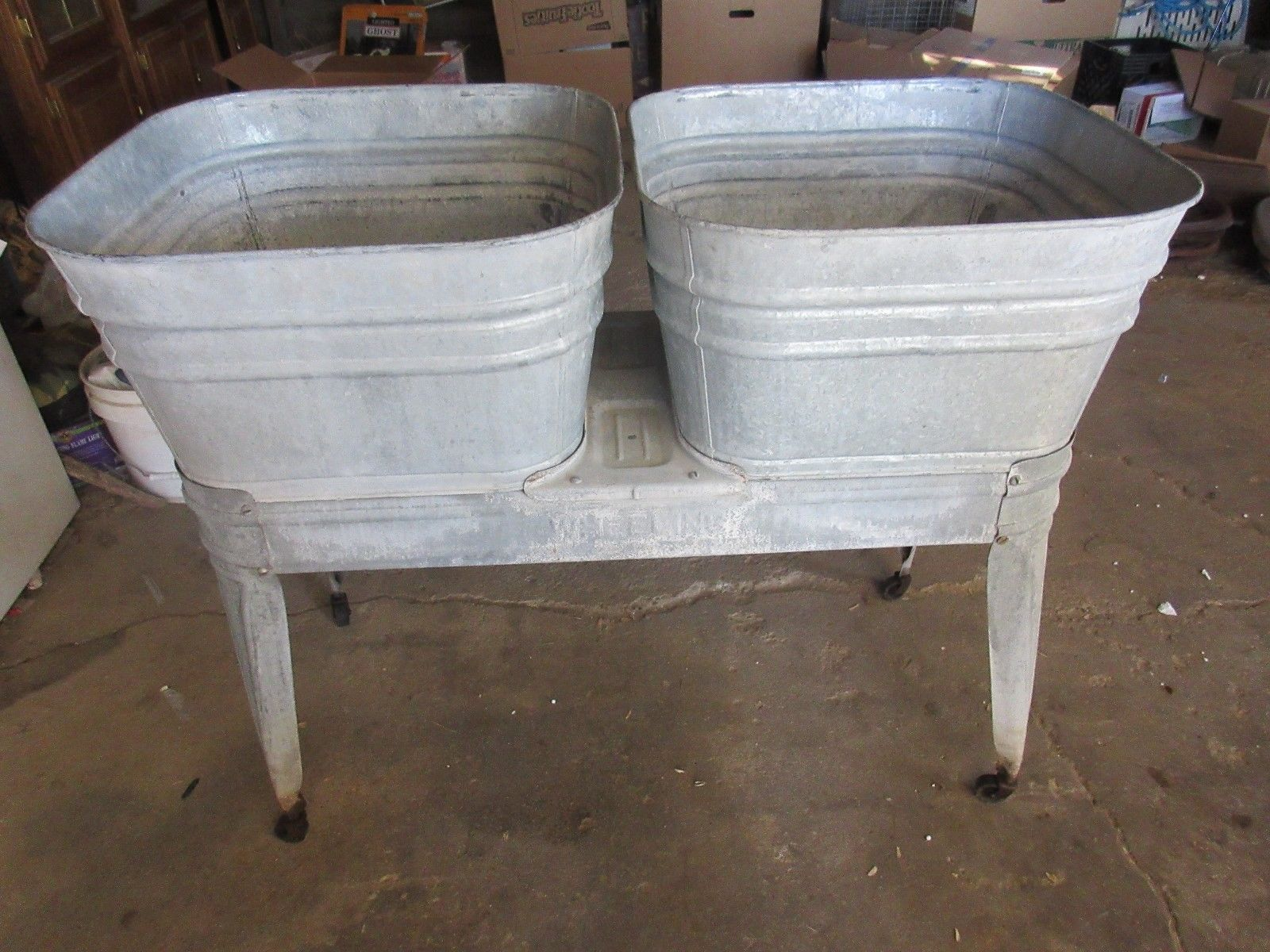 Antique Wheeling Double Wash Tubs With Stand Nice Condition Lot 15 48 90 Wash Tubs Galvanized Wash Tub Tub