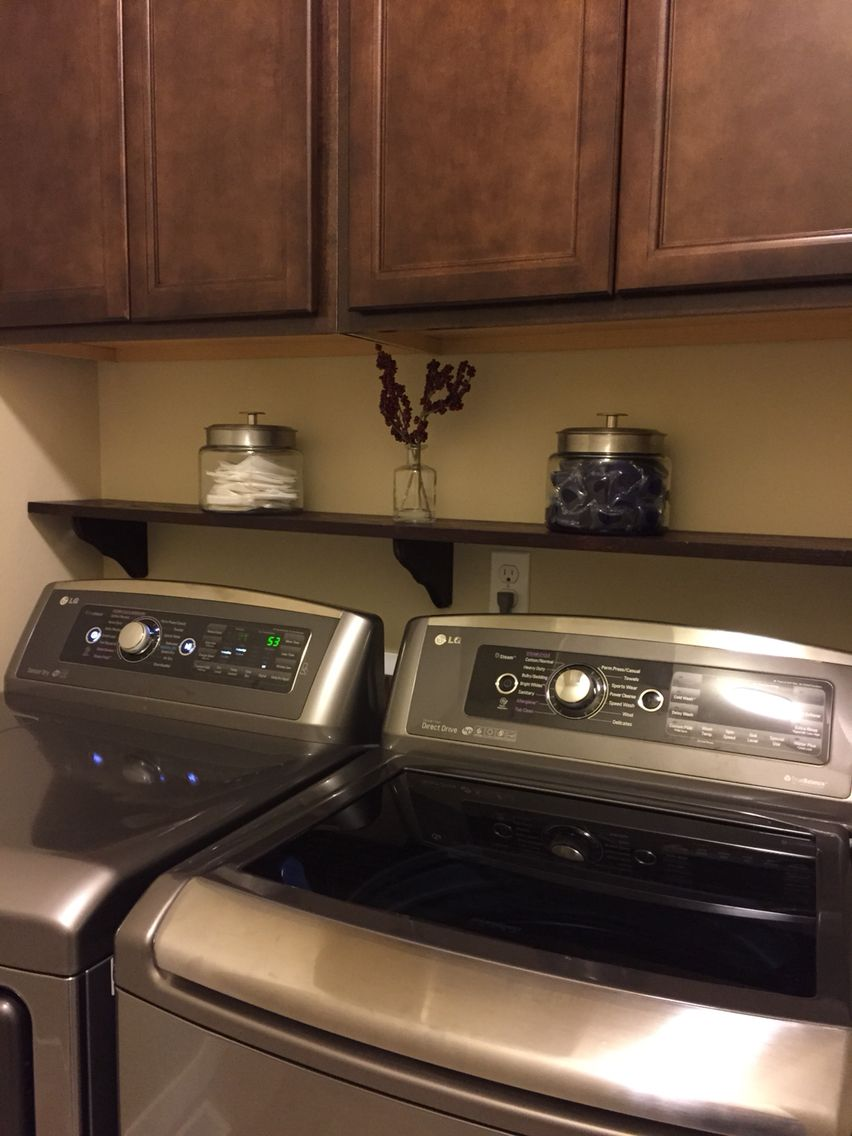 shelf over washer and dryer laundry room great idea laundry room storage laundry room. Black Bedroom Furniture Sets. Home Design Ideas