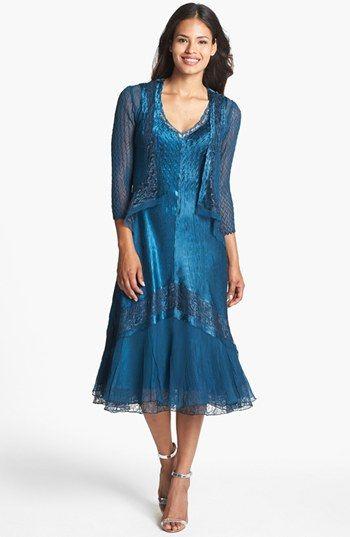 Komarov Embellished Mixed Media Dress & Jacket available ... - photo #5