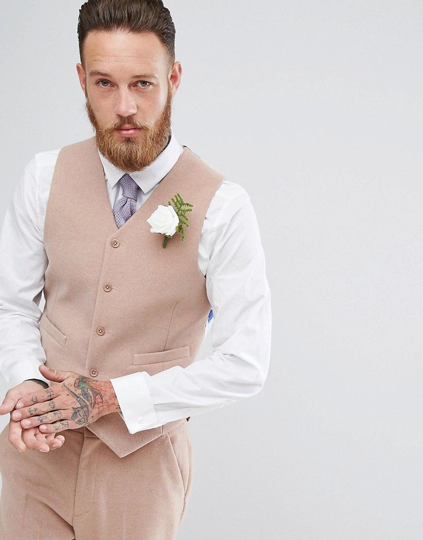 ASOS Wedding Skinny Suit Vest in Light Pink Wool Mix - Pink