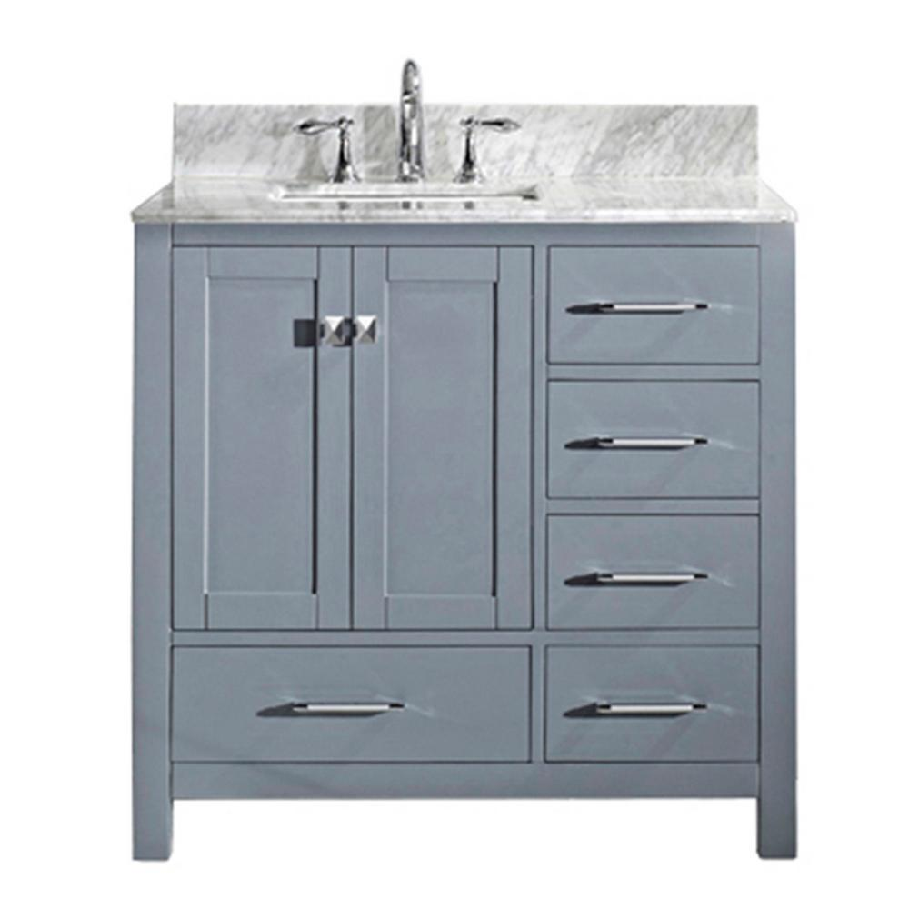 Virtu USA Caroline Avenue 36 in. W Bath Vanity in Gray