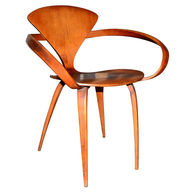a norman cherner for plycraft bentwwood pretzel armchair