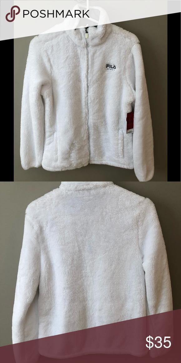 6833983d Fila jacket NWT Fila fuzzy jacket. White. Medium Fila Jackets ...