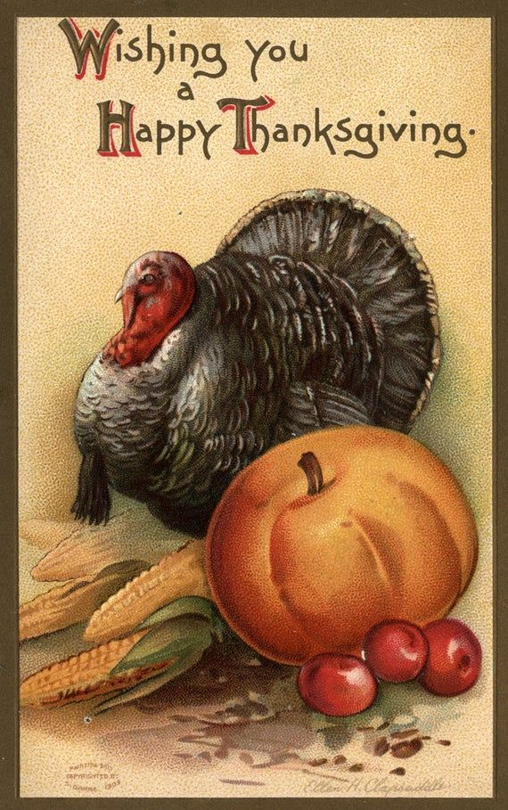 Wishing You a Happy Thanksgiving - Turkey and Produce #1 - Vintage Holiday Art (Art Prints, Giclees, Wood & Metal Signs, Tote Bag, Towel)