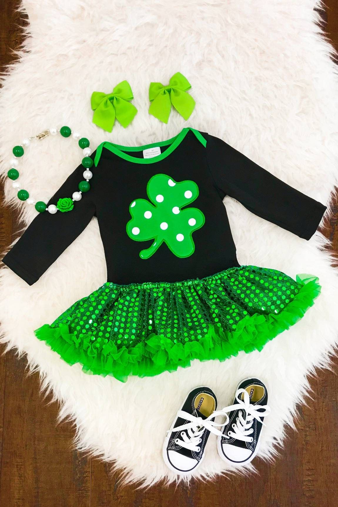 6d0978d75ea3 Lucky shamrock sequin tutu onesie. St. Patrick s day! Free shipping USA by  ProjectPinknBlue on Etsy