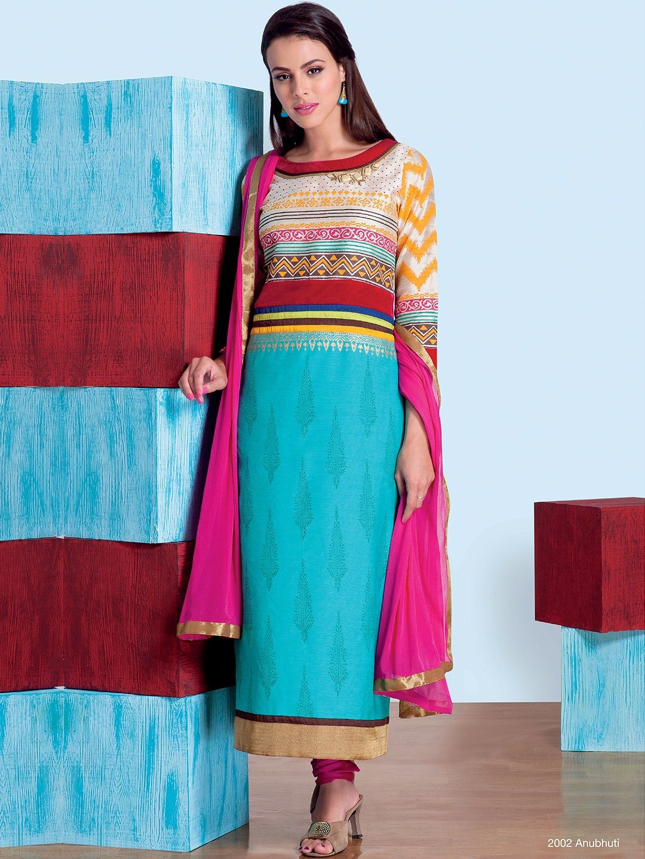 Silk Blue Ready Made Salwar Suit   Buy Casual Wear Salwar Suits at ...