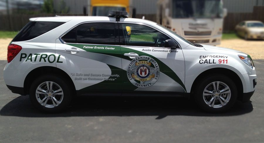 Austin Convention Center Security Patrol Car Wrap And Lettering By - Custom vinyl decals austin tx