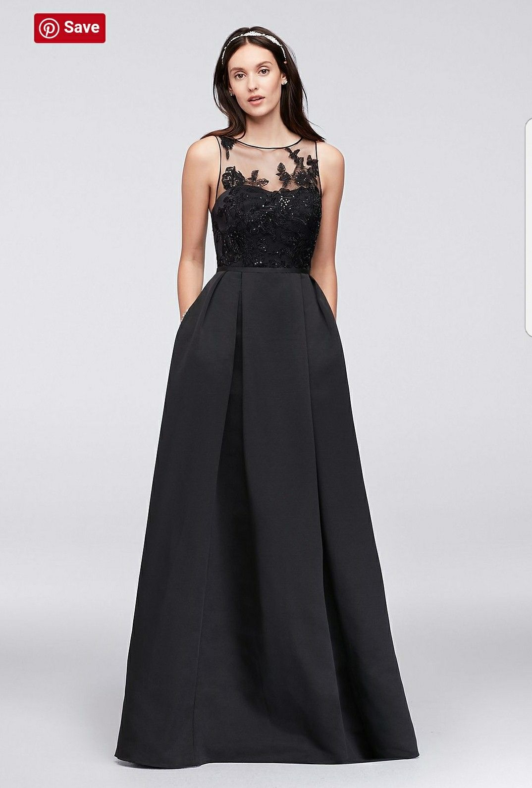 9d260aafff Browse David s Bridal stunning collection of black evening gowns   dresses  in long   short styles that are perfect for any black tie or fancy occasion.