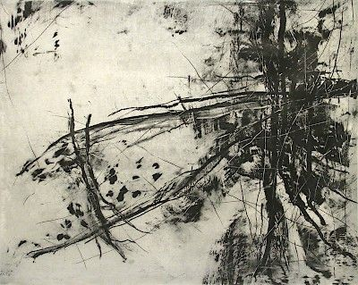 Barbara Mason : Foundation at Davidson Galleries. -  Medium: Solarplate etching : Edition of 20 Size: 16-1/2 x 21 inches