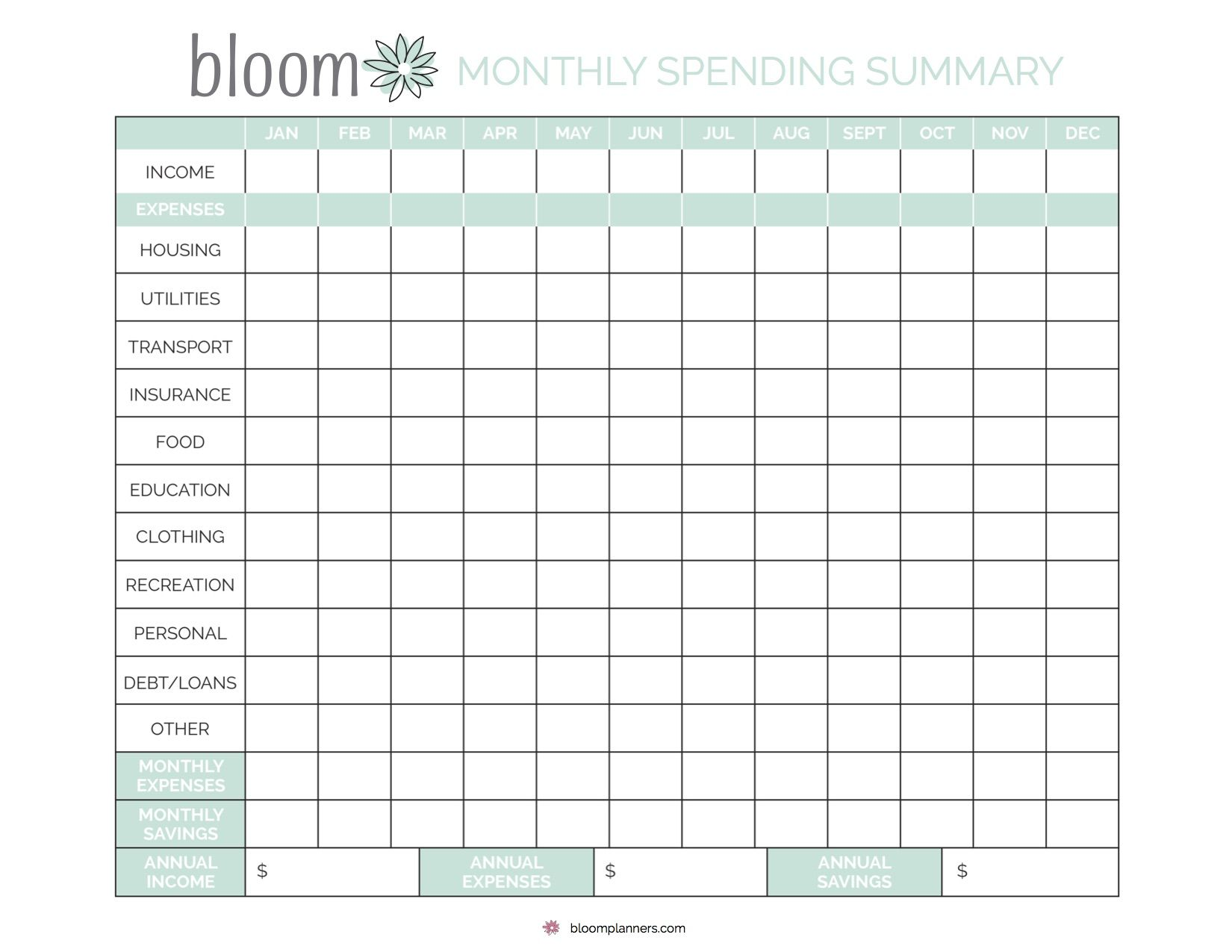 Free Printable Monthly Bill Tracking From Bloom Daily