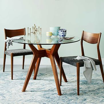 Jensen Round Table, Glass/Walnut Round glass, Rounding and Glass