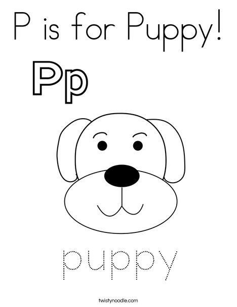 P is for Puppy Coloring Page - Twisty Noodle | Puppy ...
