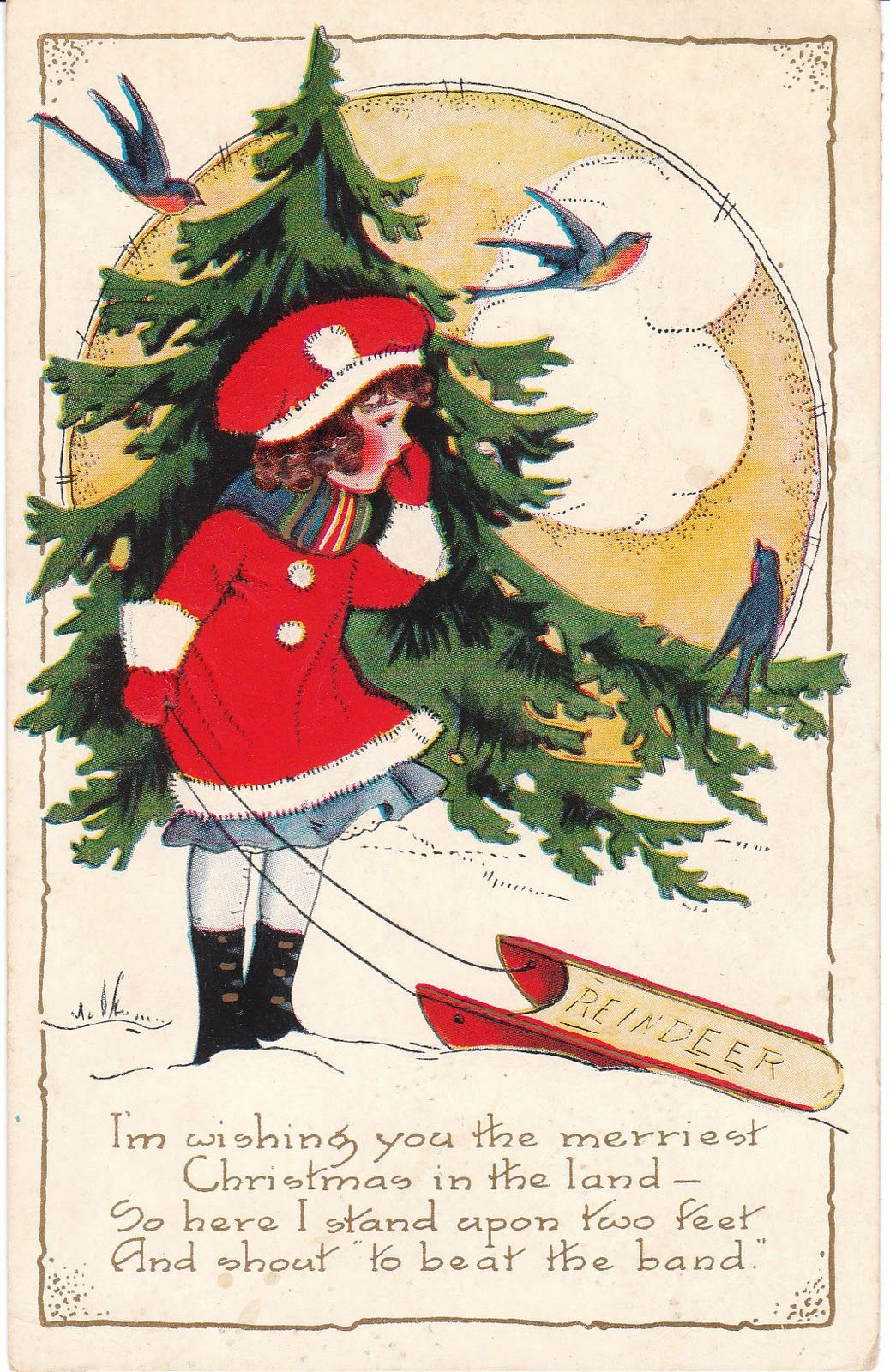 It S Beginning To Look A Lot Like Christmas In Vintage Paper Vintage Holiday Postcards Vintage Holiday Cards Vintage Christmas Cards