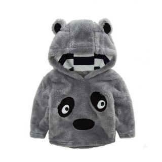 Thick panda pullover hoodie gray flannel sweatshirt for kids ...