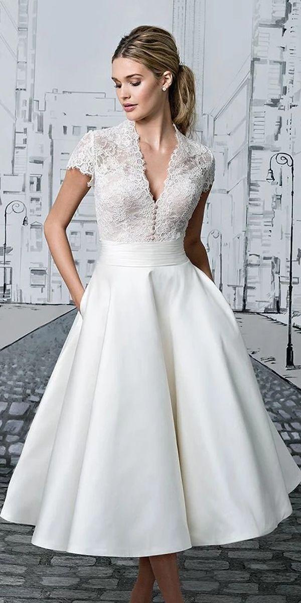 Short Wedding Dresses V Neck Lace Tea Length Ivory Simple Vintage Bridal Gown Jkw258 Short Lace Wedding Dress Simple Bridal Gowns Bridal Gowns Vintage