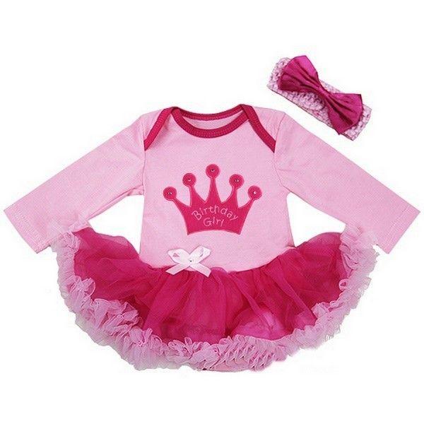 Rhinestone Crown Hot Pink Long Sleeve Bodysuit Hot Pink Pettiskirt Dress NB-18M