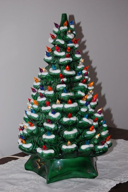Vintage Large Ceramic Christmas Tree Lighted Holland Mold Snow Flocked Music Box Ebay Ceramic Christmas Trees Ceramic Christmas Tree Lights Christmas Tree