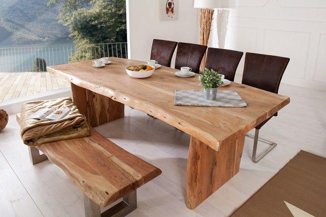 Massiver Baumstamm Tisch MAMMUT 220cm Akazie Massivholz
