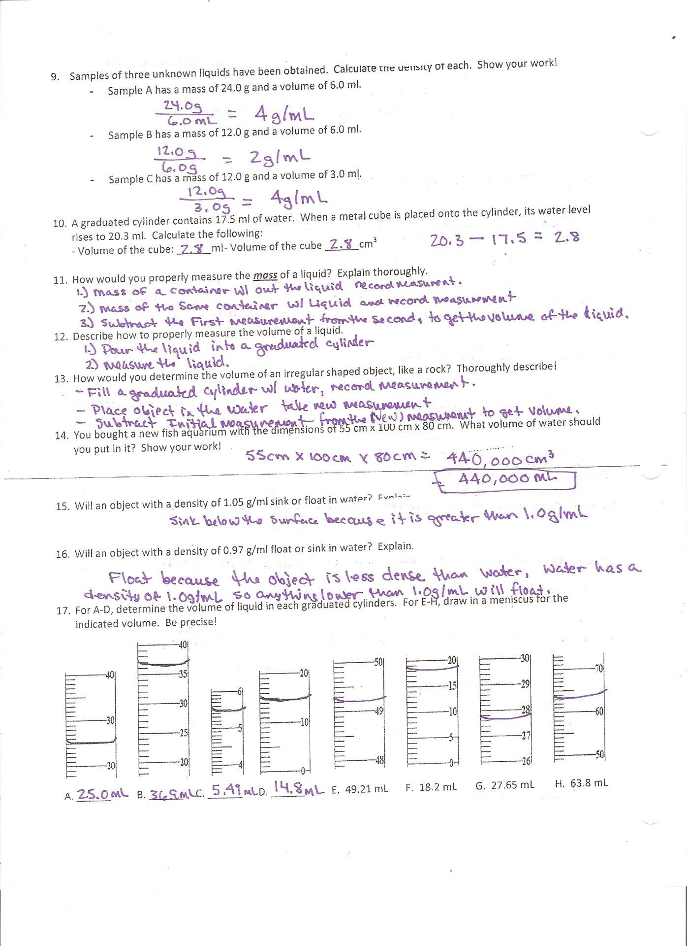 Density Practice Problem Worksheet In