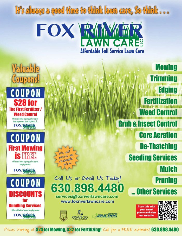 Use of a QR Code on this lawn care flyer is a smart idea | Lawn ...
