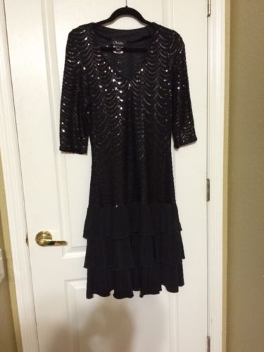 NUEVA Black Sequined Dress Womens Size 10 NWOT-DR0810