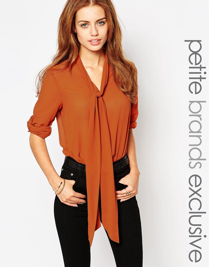 Glamorous Petite Blouse With Scarf Neck