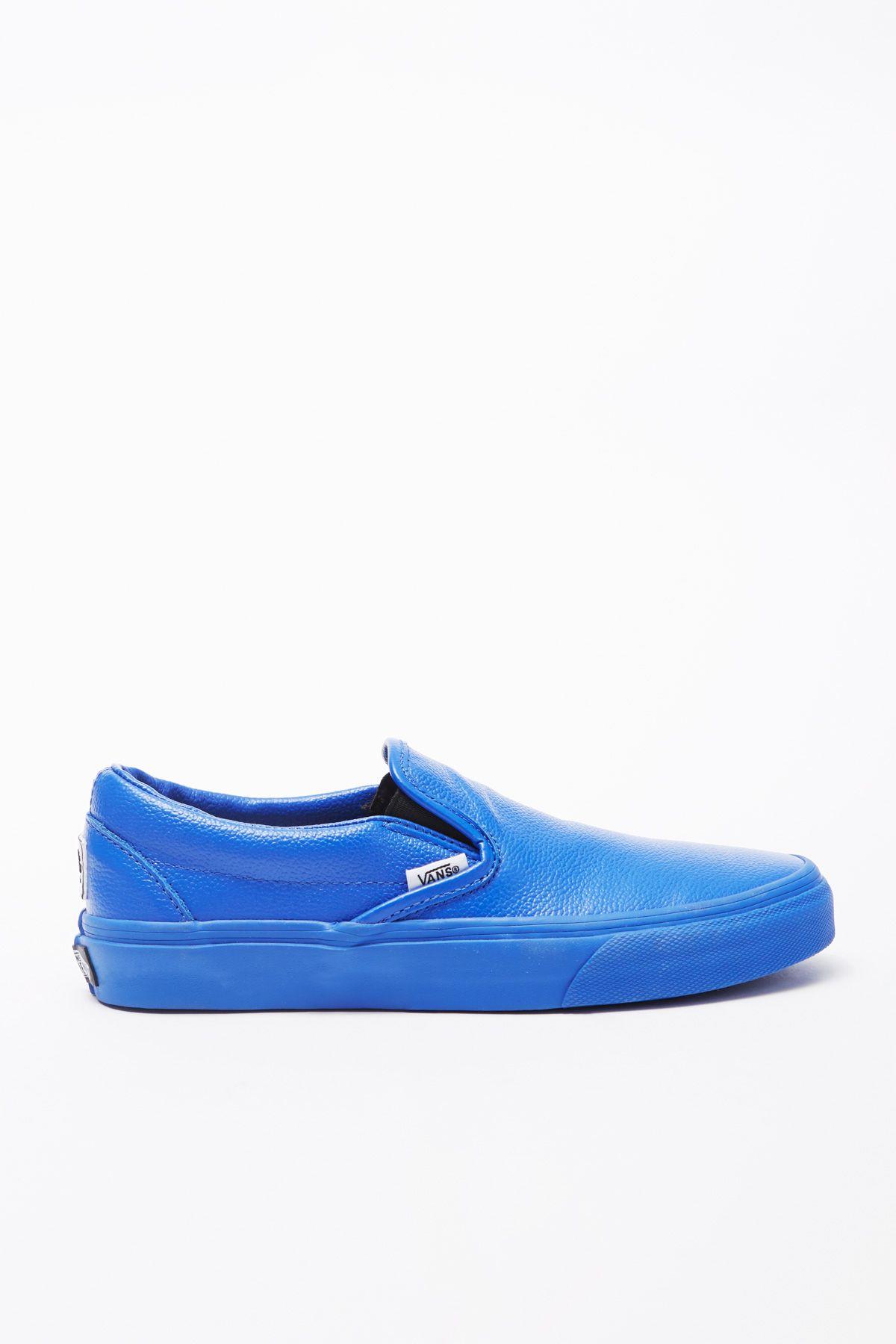 vans slip on blue leather