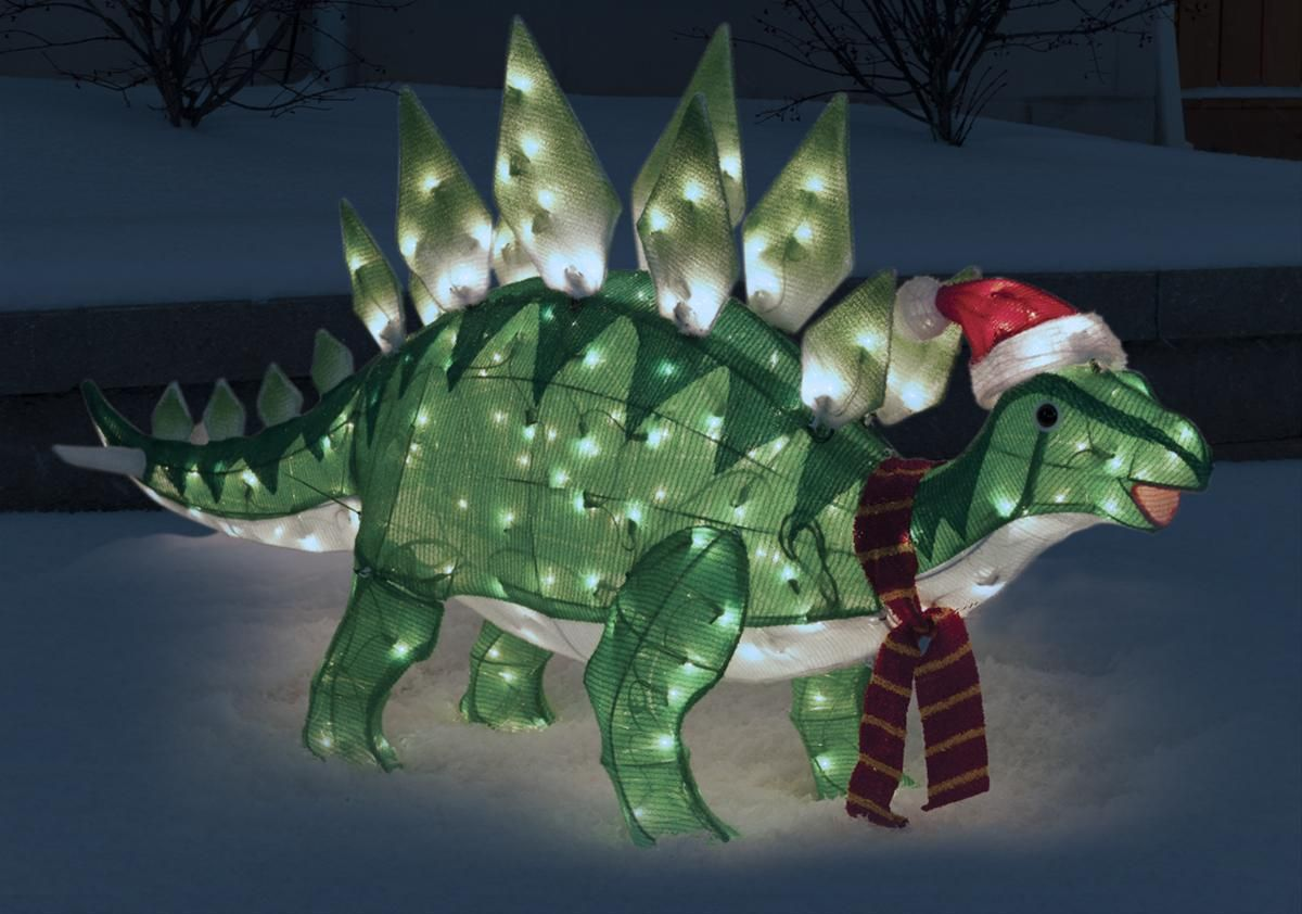 Holiday Christmas Lighted Tinsel Dinosaur Yard Decor New In Home Furniture Diy Celebrations Occasions Decorations Trees