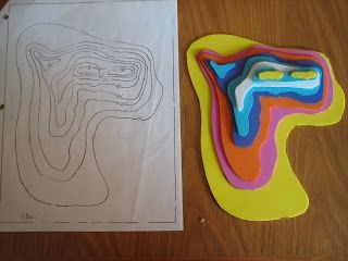 Build a 3D model from a topographic map using fun foam or cardboard.
