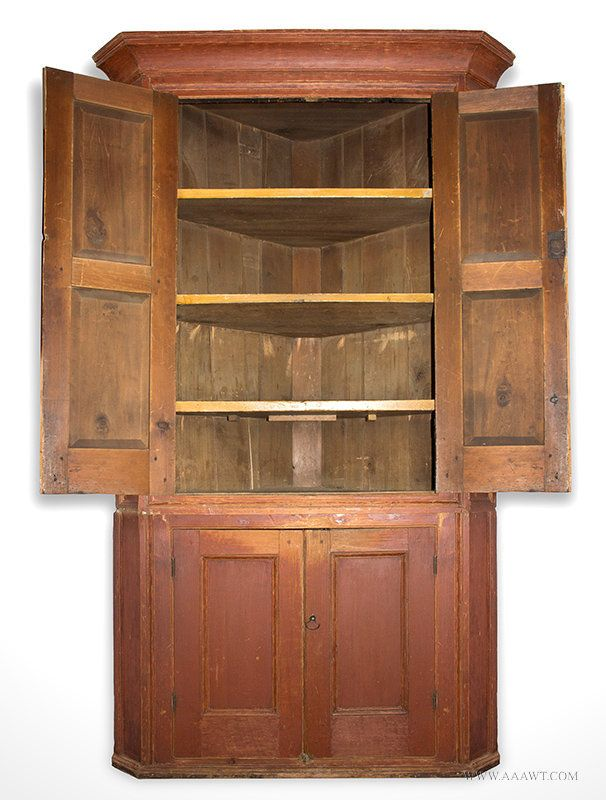 Antique Corner Cupboard in Red Paint with Fielded Panel Doors, Circa 1790  to 1820, - Antique Corner Cupboard In Red Paint With Fielded Panel Doors