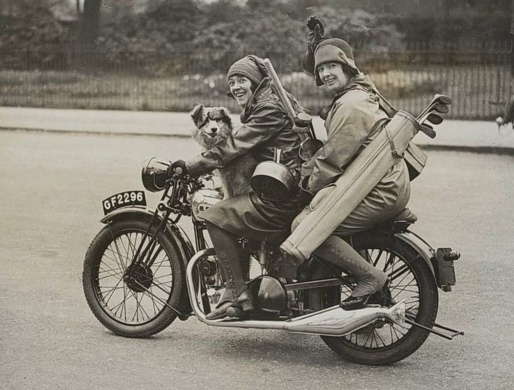 Sisters: Nancy and Betty Debenham, well-known motorcyclists, riding BSA bike wit…