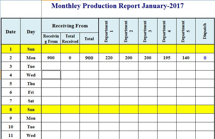 format of production schedule plan template in excel