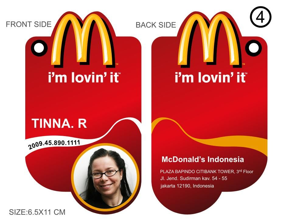 Mcdonald S Indonesia Employee Id Tags With Images Id Badge