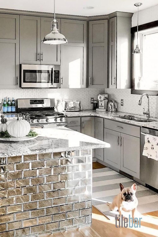 Paris Gray Beveled 3x6 Antique Mirror Tile In 2020 Kitchen Remodel Small Kitchen Remodel Kitchen Tiles Design