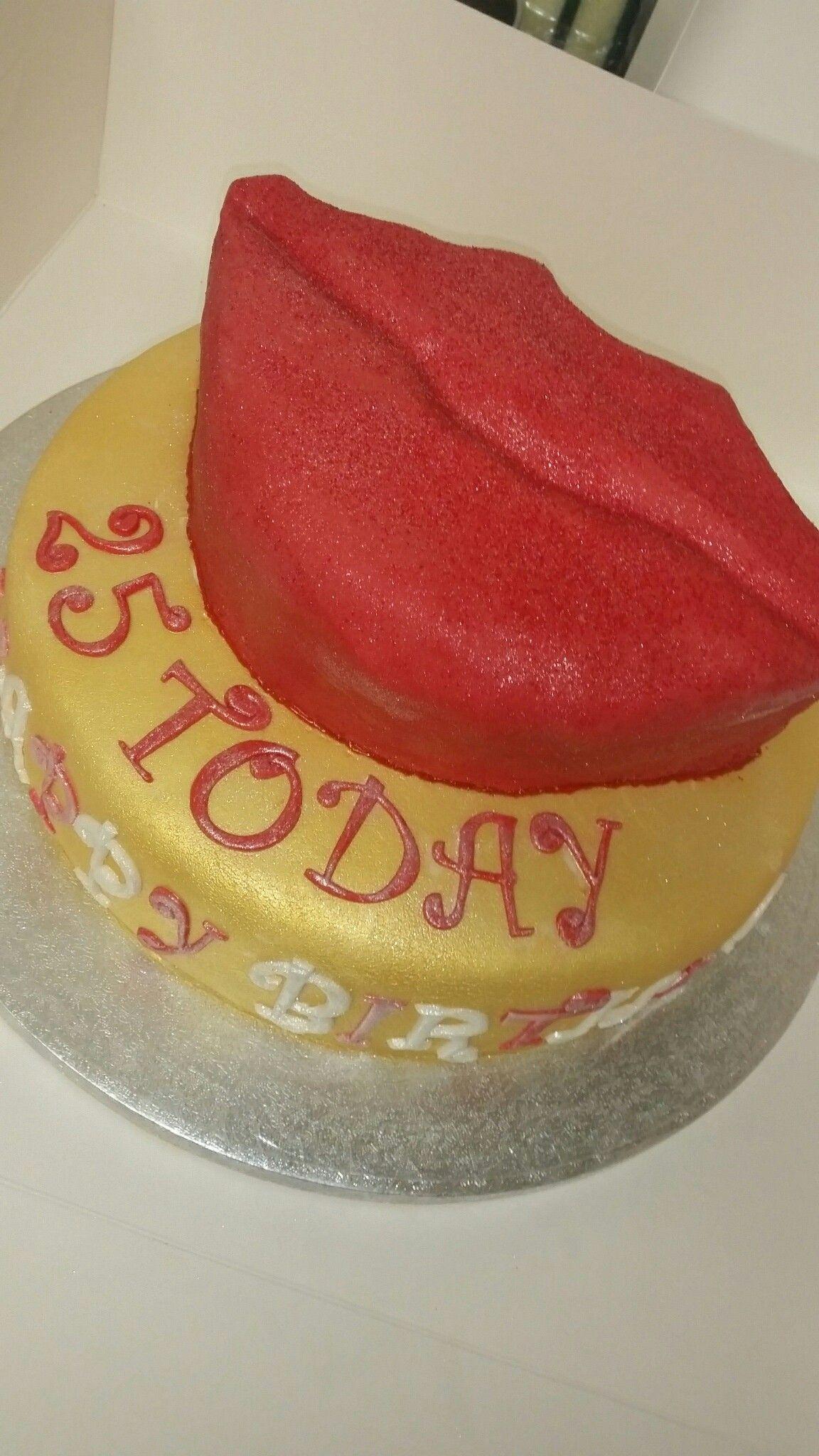 Red Kiss Lips Birthday Cake 25 Today Cakes Pinterest Birthday